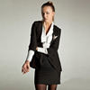 latest black notch lapel T/R tailors suits ladies formal