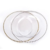 Hot Selling Wedding Decoration Gold Silver Beaded Glass Charger Plate