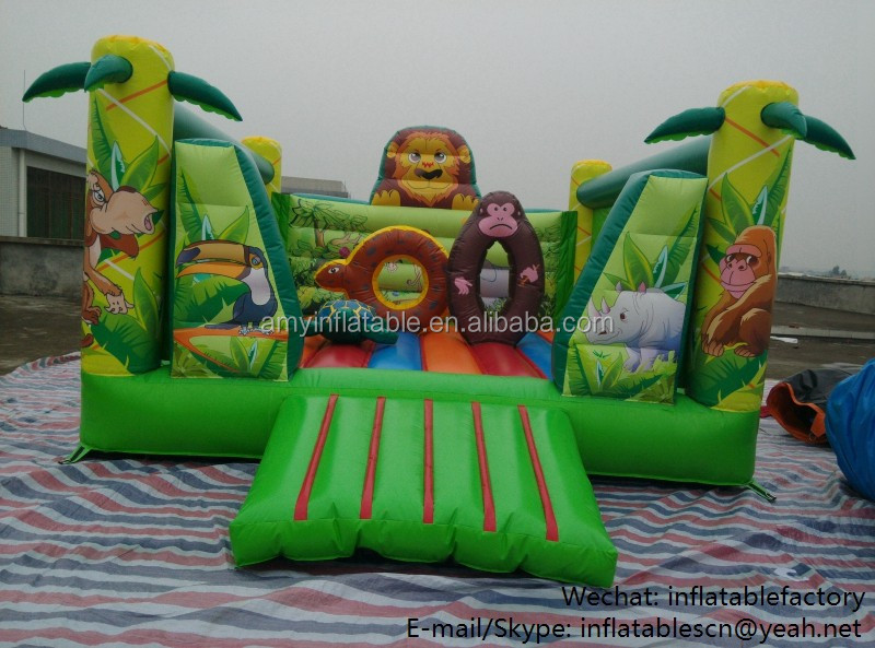 PK6201 bouncy castle cheap price fresh safari bouncer combo lion style inflatable castle
