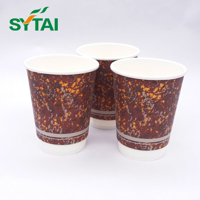 16 oz Custom disposable biodegradable vertical double wall paper cup for hot coffee