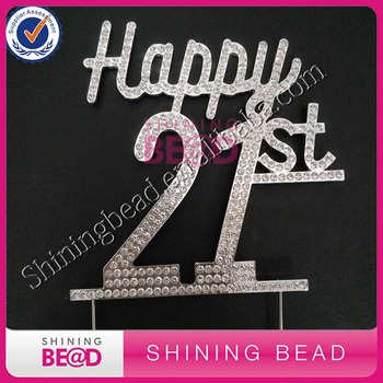 Happy 21st Birthday Rhinestone Cake Topper Clear Rhinestone Number 21st Happy Birthday Cake Topper