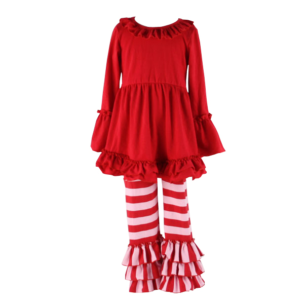 2017new fancy frock designs images sew sassy boutique sets solid ruffle dress&stripe pants baby girl boutique clothing sets