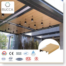 Rucca WPC Wood Plastic Composite False Ceiling, Pop Designs in Hall, Restaurant Decoration 100*25mm China Supplier