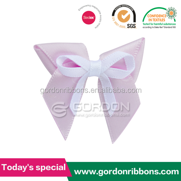 Sweet Honey Ribbon Bow ,Pre made Satin Ribbon Bow ,Two Color Soild Lingeris Bow