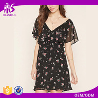 2016 guangzhou shandao summer new design wholesale short sleeve chiffon printing new model girl dress