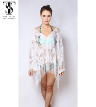 Top selling products 2018 Summer Women ladies tops latest design Tassels lace white Beachwear Cover Up
