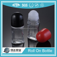 Transparent glass olive oil roll on container 50ml