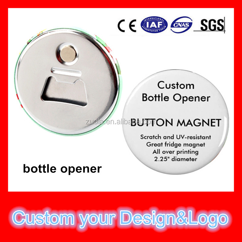 Custom promotional bottle opener with magnet in your design image and logo