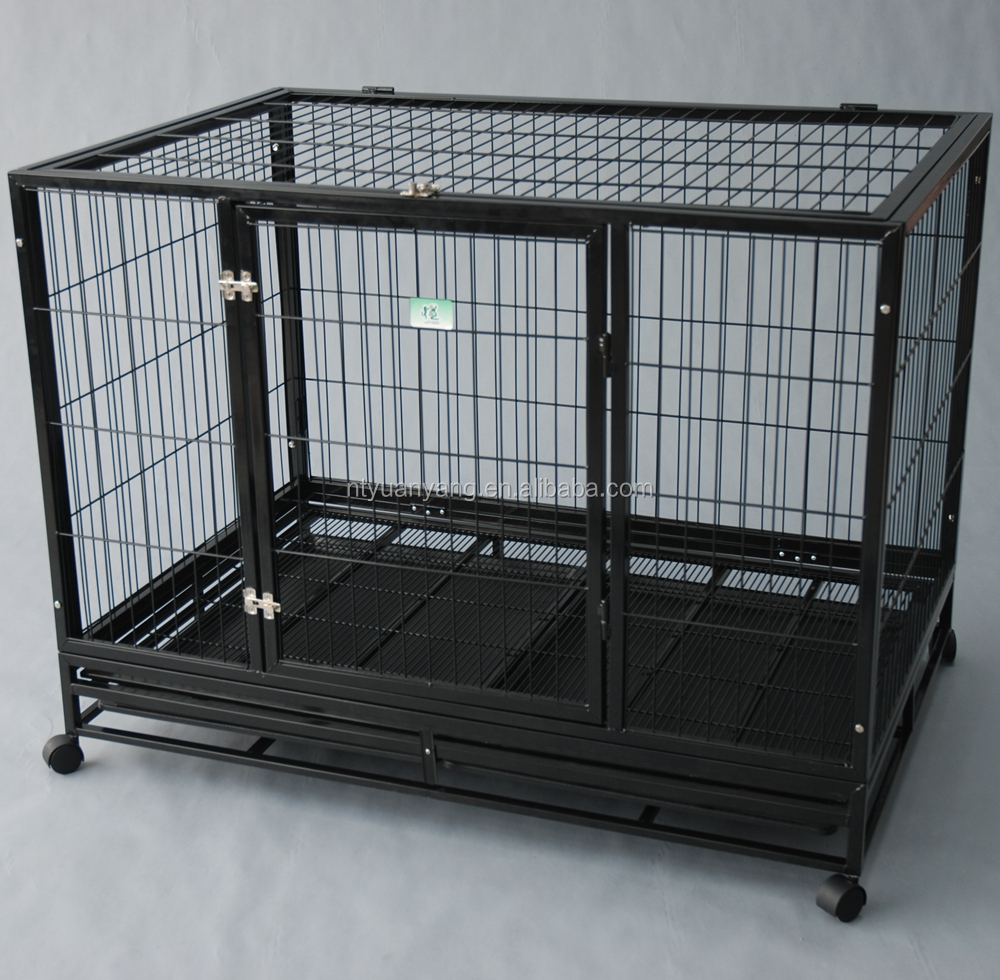 wholesale strong metal square tube dog kennel with wheels