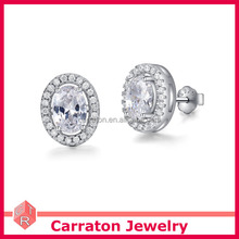 Best seller sterling silver 925 wholesale woman oblong oval egg prong setting cubic zirconia stud earrings jewelry gift