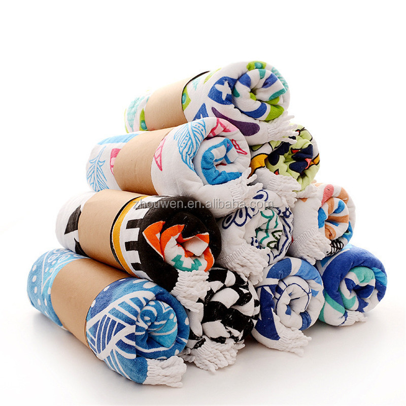 100% Organic <strong>Cotton</strong> Round Beach Towels Factory