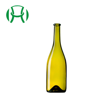 Top Quality Wholesale Round Shape 750ml Antique Green Glass Burgundy Red Wine Bottle with Cork Lid for Napoleon Brandy