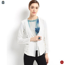 T-WB506 Flower Lace Splice Women White Office Suits