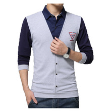 2016 New Fashion long sleeve knit shirts men's casual shirts M-5XL