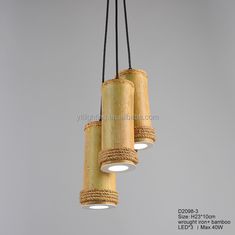 Home Decoration Modern Hanging Light Retro Bamboo Vintage Lamp Art Decor Pendant Light Customizd Led Indoor Light for Home
