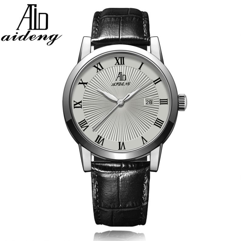 Stainless Steel Leather Bracelet Quartz Wrist Man Luxury Strap Watch