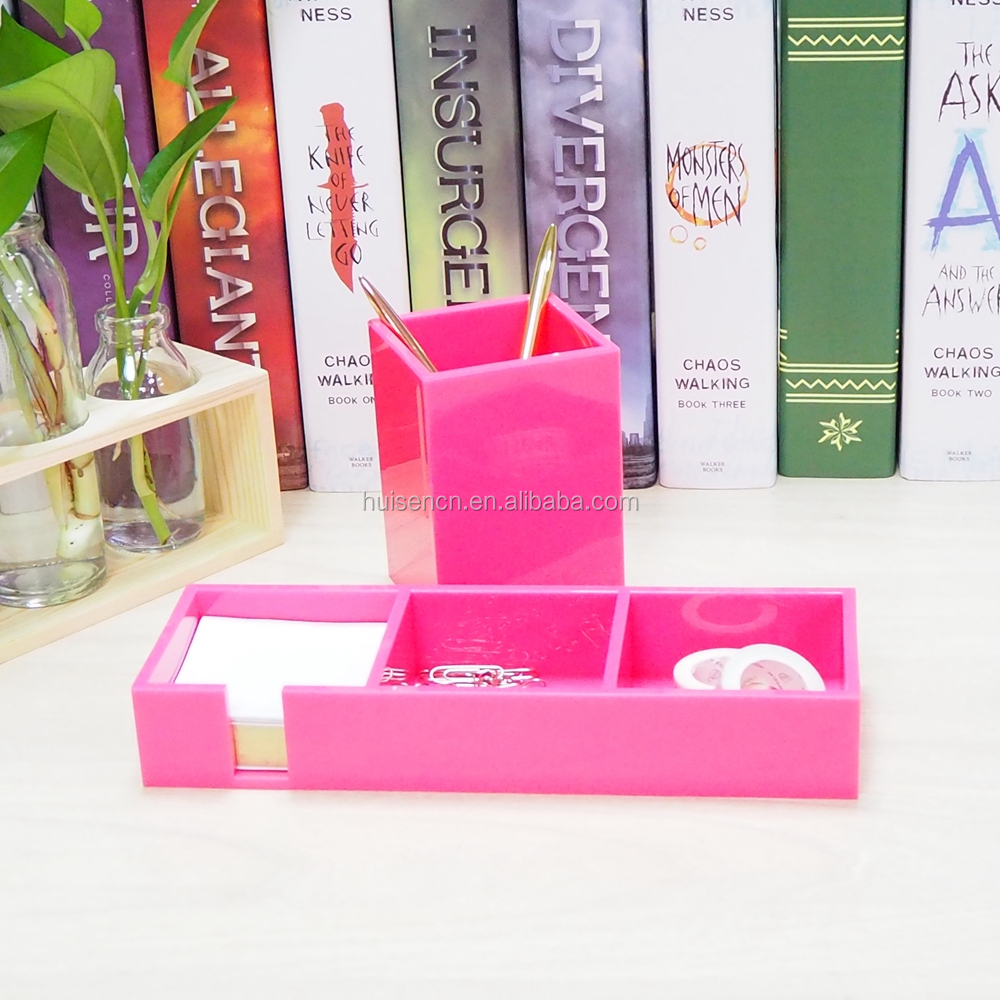 Gift Acrylic Notes Holder Pink Pen