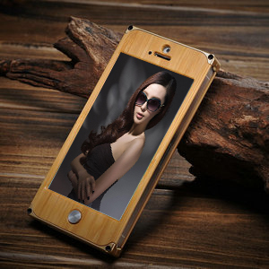 Wood metal bumper back cover case for iphone5s, fashion case for iphone 5, case for iphone 5s