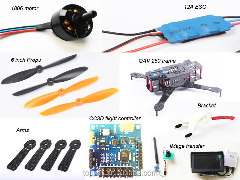 New Product High Quality Racing Quadcopter 12A ESC 1806 2280kv Motor 5040 Propeller Brushless For QAV 250