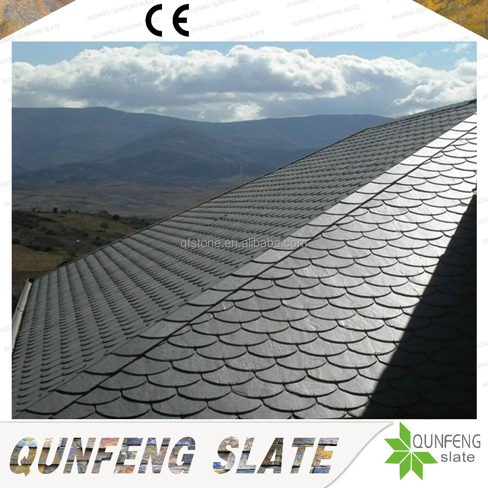 Factory Direct Sale CE Passed Antacid Cheap Natural Black Stone Fish Scale Solar Slate Roof Tiles