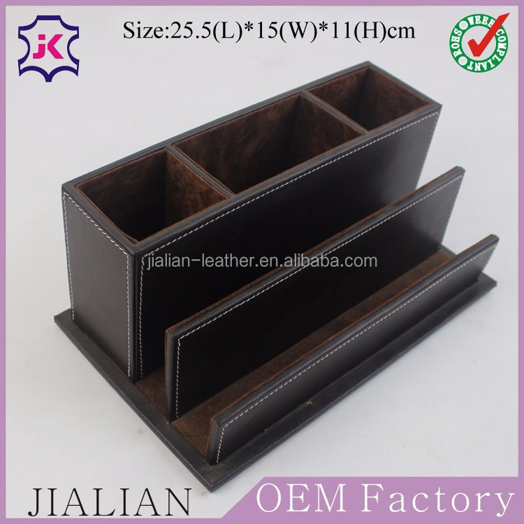 Leather desktop organizer stationery desk set buy - Desk stationery organizer ...