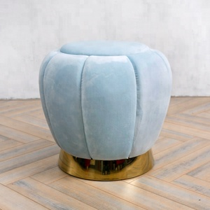 Comfortable Velvet Fabric Shoes Changing Stool with Brass Golden Metal Base