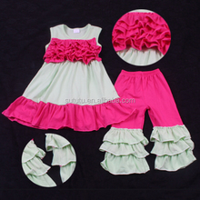 Fashion Girls Clothing Sets hot pink ruffles dress and ruffles pants plus size wholesale children clothing