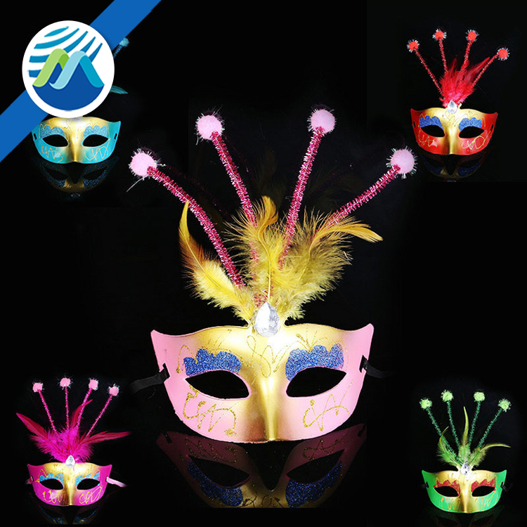 Costume Party Mask Masquerade Feather Colored Drawing Beauty Venice Half Face Mask
