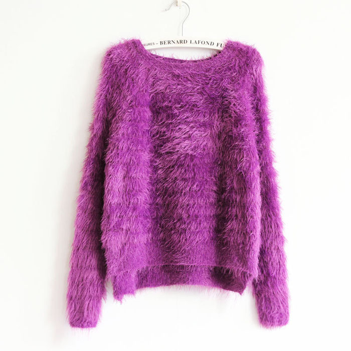 Get Quotations · Kawaii Sweater 2015 Fashion Women Knitted Mohair  Asymmetrical Baggy Sweaters Oversized Winter Autumn Female Cute Pink