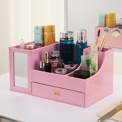 Ladies Girl cosmetic box wood cardboard PU Leather makeup storage case with mirror