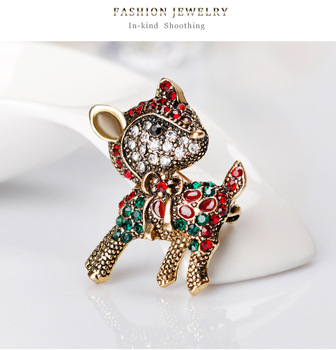 Fashion Christmas Crystal Rhinestone Animal Elk Brooch CZ Cute Deer Brooch