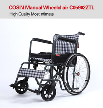 Cheap Price Stainless Folding Portable Steel Manual Wheelchairs C05902ZTL