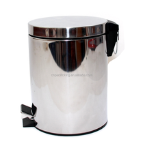 Eco-Friendly stainless steel chrome foot pedal waste bin 5L