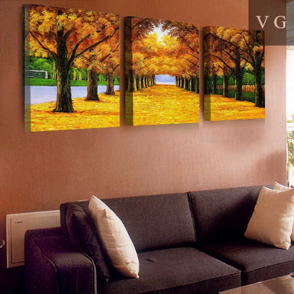 High Resolution Landscape Painting 3 Panel Canvas Wall Art