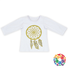 Plain White Girls Fancy Tops With Dreamcatcher Cotton Pattern Baby Long Sleeve Tops 0-6 Years Old Kids Boutique Tops
