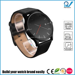 Build your watch brand japan movt quartz watch stainless steel back genuine leather strap