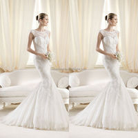 2014 Fabulous Jewel Neck Cap Sleeve Mermaid Wedding Dresses With Applique Accent Beautiful White Ivory Garden Bridal Gown NB0494