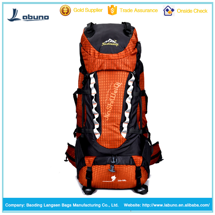 Top loading hiking backpack mountain leisure backpacks 75l