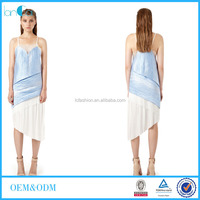 trendy long backless blue and white oblique pleat simple and light dress
