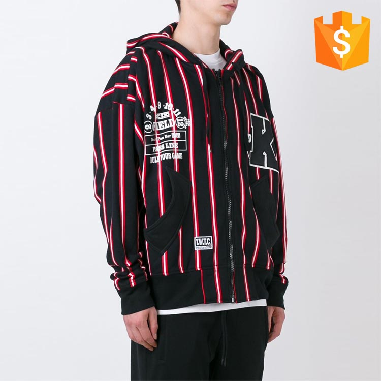 Red and white cotton striped varsity style black exclusive hoodies