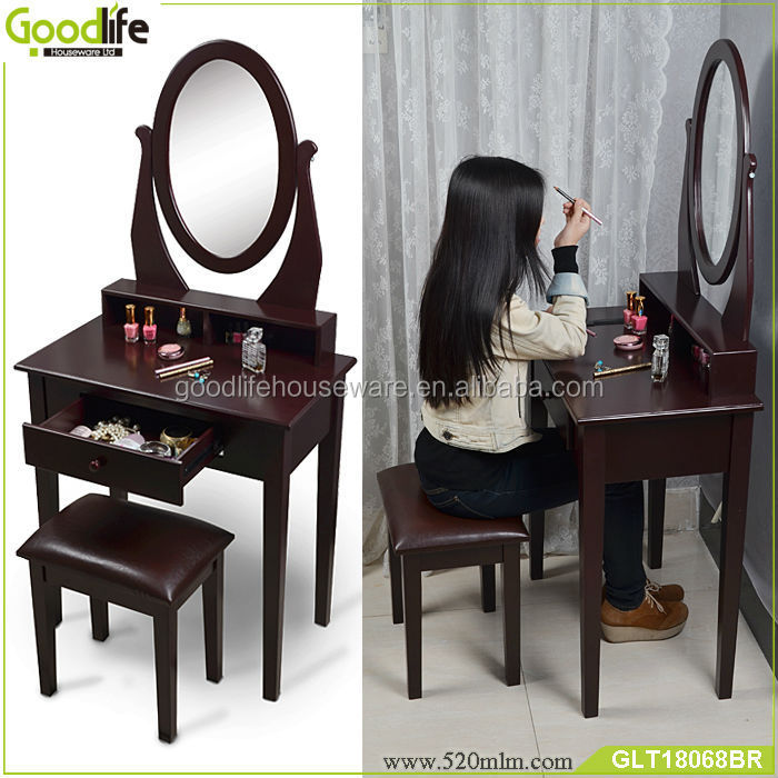 Wooden Makeup Vanity Table with Flip Mirror Stool