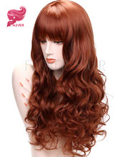 Auburn Curly Synthetic Lace Front Wigs With Bangs For Women Heat Resistant Hair Half Hand Tied Wavy Party/Cosplay/Halloween Wig