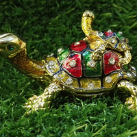Crystal Golden Plated Enamel Tortoise Trinket