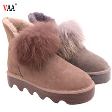 CF-198 Winter Factory Ankle Length Genuine Leather Racoon Fur Antiskid Rubber Sole Hairy Hairy Women Winter Snow Boots