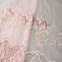 hot selling polyester fabric/flower pattern bead embroidered fabric/embroidered beaded tulle fabric