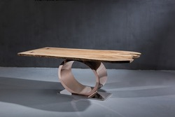 Modern Design Gold Color Round Stainless Steel Wood Dining Table Bangalore