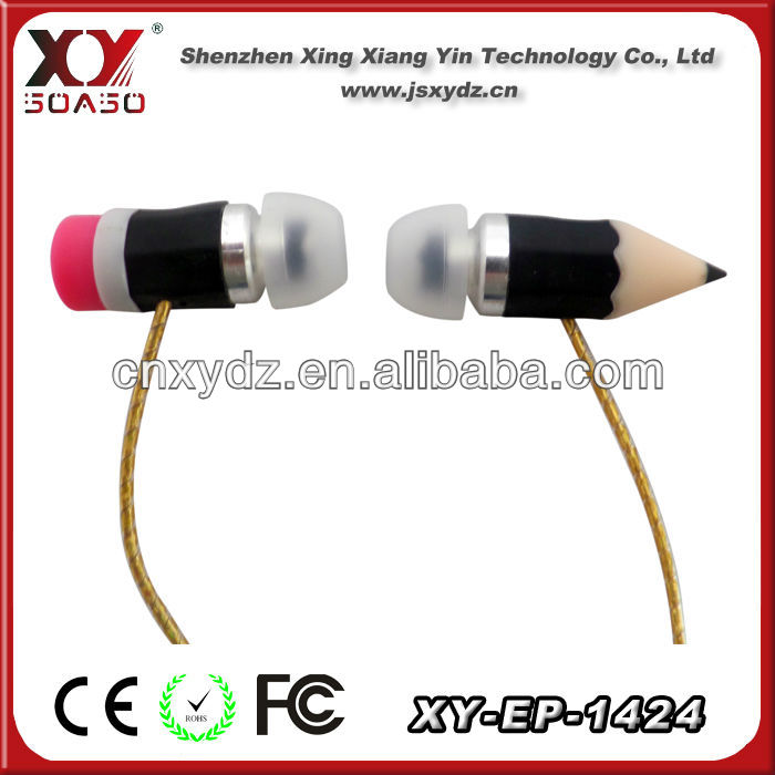 funny pencill shape in-ear earphone for promotion
