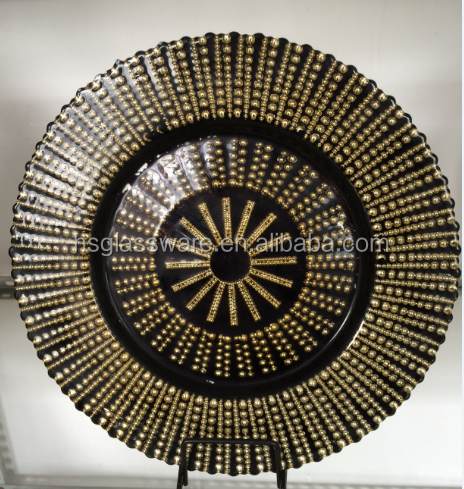 Wholesale Dishes Black Gold Fancy Glass Wedding Charger Plates for Hotel and Restaurants