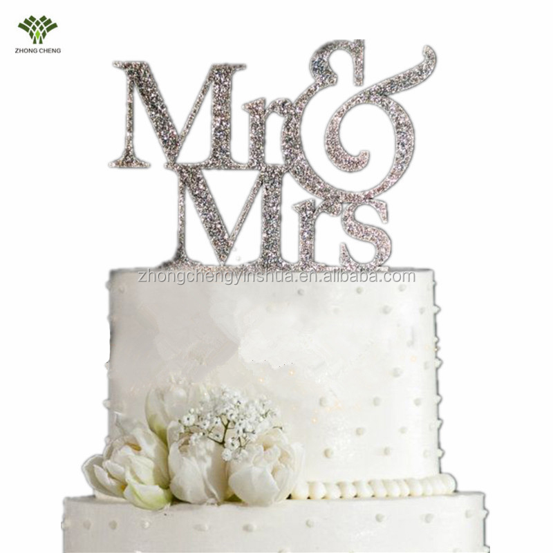 Cheap Wedding Cake Toppers Mr&Mrs Cake Picks FlagWedding Happy Birthday Cake Decoration