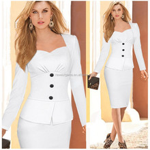 ropa para mujer European Autumn Fashion Elegant Womens Buttons Style False Two Piece OL Formal Office Wear White Pencil Dress